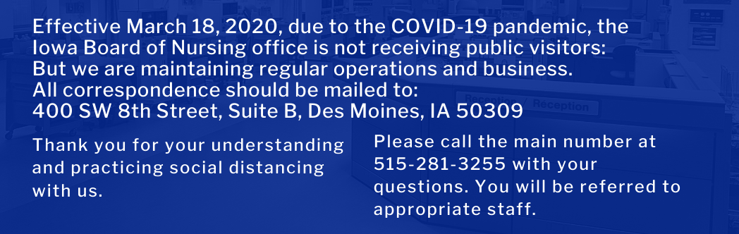 office closure announcement by the Iowa Board of Nursing